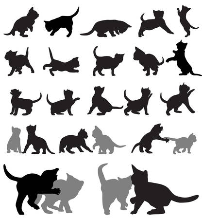 Illustration for set of kitten silhouettes.  - Royalty Free Image