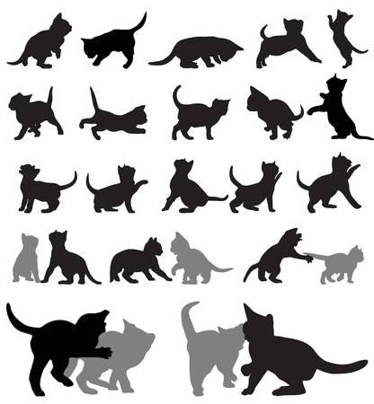 Ilustración de set of kitten silhouettes.  - Imagen libre de derechos
