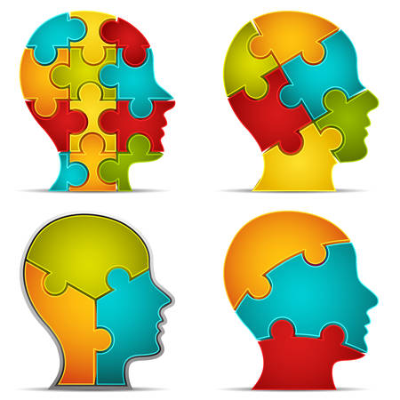 Illustration pour Vector illustration of human head made of puzzle. - image libre de droit