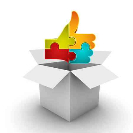 Illustration pour Business concept with box and like symbol made of puzzle. It can be use for different concepts such shopping, gifts, right decision in different business categories etc. Puzzle symbolize strengths of connection between different parts in business that you - image libre de droit