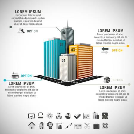 Foto de Vector illustration of real estate infographic made of buildings.  - Imagen libre de derechos