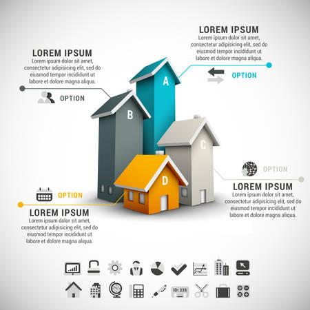 Ilustración de Real estate infographic made of colorful houses. - Imagen libre de derechos
