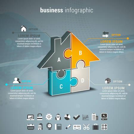 Ilustración de Vector illustration of business infographic with house made of puzzle. - Imagen libre de derechos