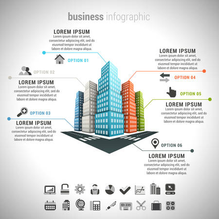 Photo pour Vector illustration of business infographic made of buildings. - image libre de droit