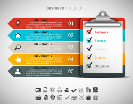 Illustration pour Vector illustration of business infographic made of checklist table. - image libre de droit