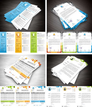 Photo for Vector set of different stationery elements. Letterhead, invoice, cover letter and resume in bundle. - Royalty Free Image