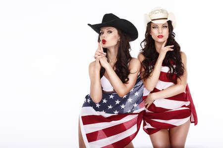 Fanciful Joyful Women Cowgirls and American Flag