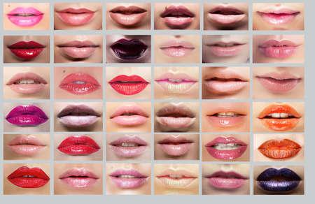 Photo pour Lipstick  Great Variety of Women lips - image libre de droit