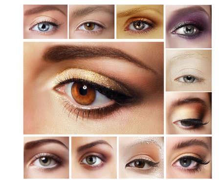 Photo pour Set of Eyeshadow. Mascara. Mix of Women's Eyes - image libre de droit
