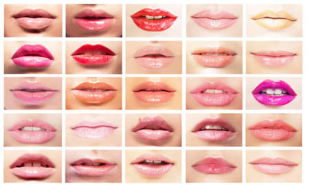 Photo for Multicolored Mouths. Set of Women's Lips. Bright Makeup & Cosmetics - Royalty Free Image