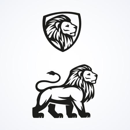 Illustration for Lion logo sport mascot emblem vector design  illustration - Royalty Free Image