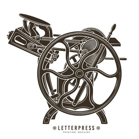 Illustration pour Letterpress printing machine illustration.  - image libre de droit