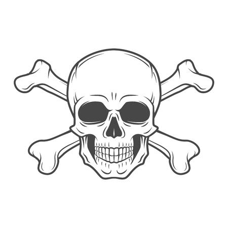Illustration pour Human evil skull vector. Pirate insignia concept design. Jolly Roger with crossbones logo template. death t-shirt concept. Poison icon illustration. - image libre de droit