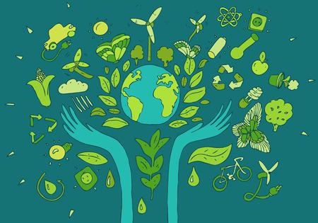Ilustración de Eco Friendly, green energy concept, vector illustration, flat design - Imagen libre de derechos