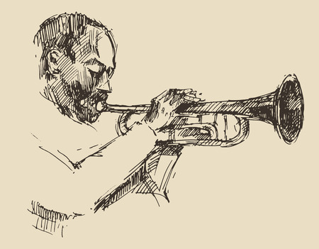 Illustration for JAZZ Man Playing the Trumpet  hand drawn, sketch vector - Royalty Free Image