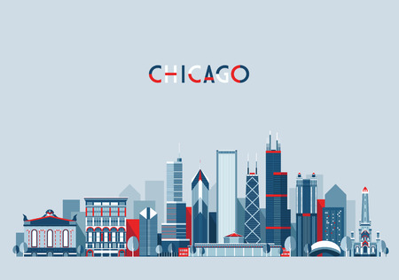 Illustration pour Chicago United States city skyline vector background Flat trendy illustration - image libre de droit