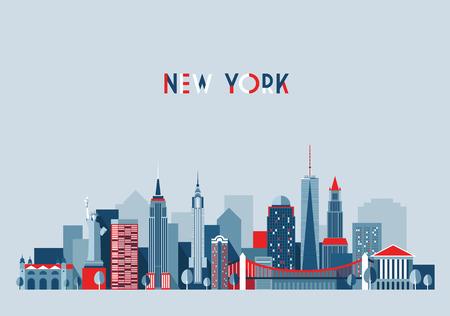 Illustration pour New York city architecture vector illustration skyline city silhouette skyscraper flat design - image libre de droit