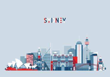 Illustration for Sydney Australia city skyline vector background Flat trendy illustration - Royalty Free Image