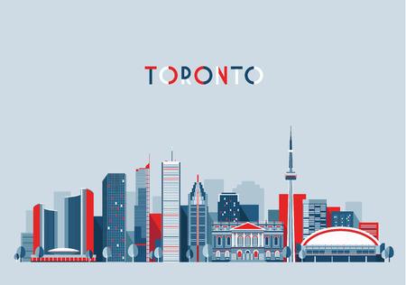 Illustration pour Toronto Canada city skyline vector background Flat trendy illustration - image libre de droit