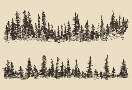 Illustration pour Mountains contours of the mountains with fir forest engraving vector illustration hand drawn sketch - image libre de droit
