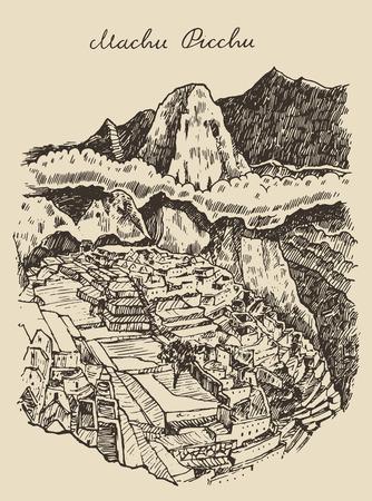 Illustration for Machu picchu landscape Peru vintage engraved illustration hand drawn sketch - Royalty Free Image