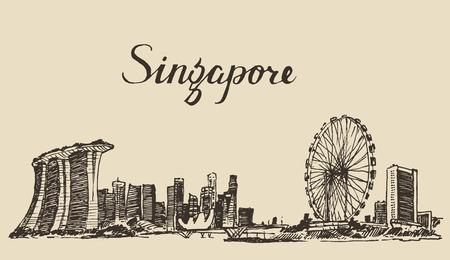 Photo pour Singapore big city architecture vintage engraved illustration hand drawn sketch Republic of Singapore - image libre de droit