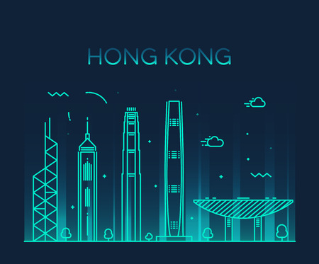 Ilustración de Hong Kong City skyline detailed silhouette Trendy vector illustration line art style - Imagen libre de derechos