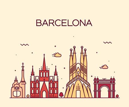 Ilustración de Barcelona City skyline detailed silhouette Trendy vector illustration line art style - Imagen libre de derechos