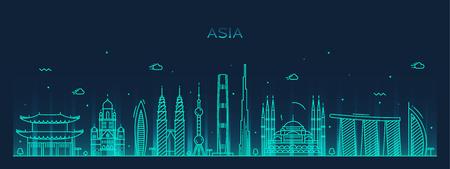 Illustration pour Asia skyline detailed silhouette Trendy vector illustration line art style - image libre de droit