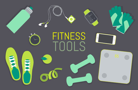 Ilustración de Vector flat icons set of fitness tools fitness elements Gym bag essentials top view - Imagen libre de derechos