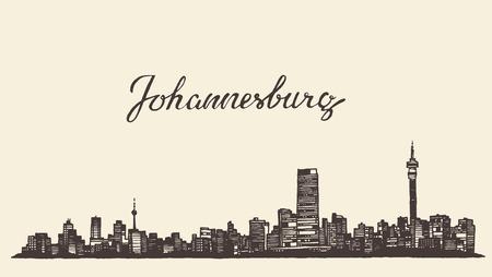 Illustration for Johannesburg skyline vintage vector engraved illustration hand drawn sketch - Royalty Free Image
