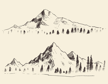 Illustration for Mountains sketch contours engraving hand drawn vector - Royalty Free Image