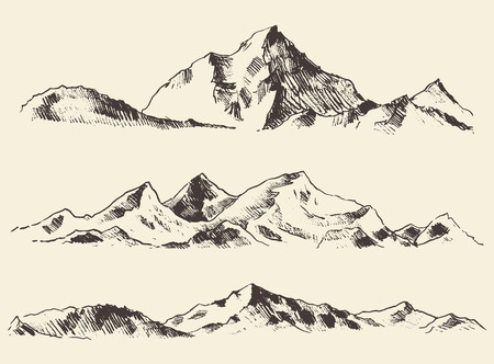 Illustration pour Mountains sketch contours engraving hand drawn vector - image libre de droit