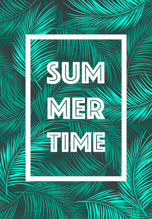 Illustration pour Summer Time poster Text with frame on tropical leaves background Trendy vector illustration - image libre de droit