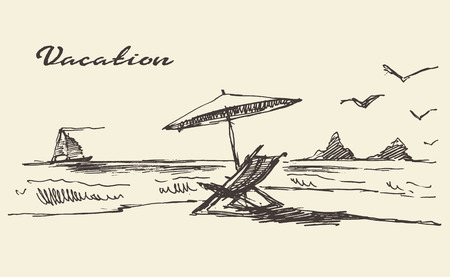 Illustration pour Beautiful hand drawn vacation poster with seaside view and beach vector illustration sketch - image libre de droit