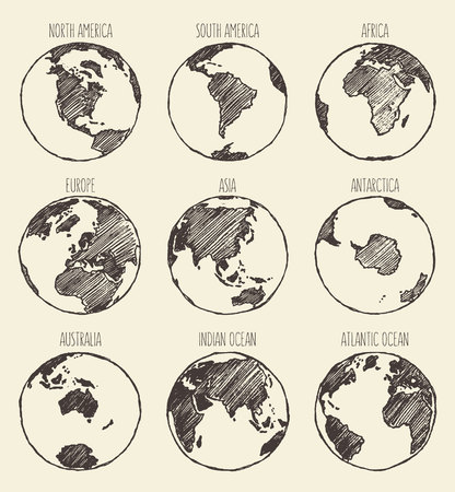 Illustration pour Sketch of globe South America North America Africa Europe Asia Antarctica Australia Indian Ocean Atlantic Ocean - image libre de droit