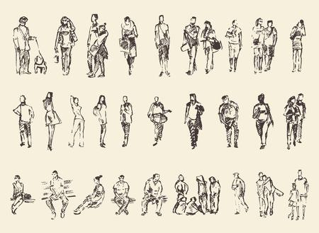 Foto de Sketch of people vector Illustration hand drawing draw - Imagen libre de derechos