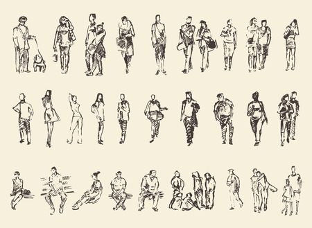 Photo pour Sketch of people vector Illustration hand drawing draw - image libre de droit