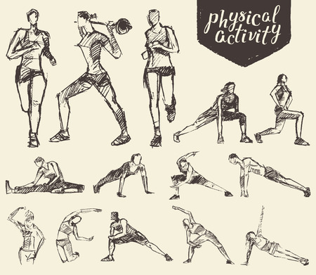 Ilustración de Fitness and gymnastic exercises. Hand drawn vector illustration, sketch - Imagen libre de derechos