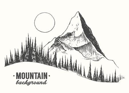 Illustration pour Fir forest background with contours of the mountains hand drawn vector illustration - image libre de droit