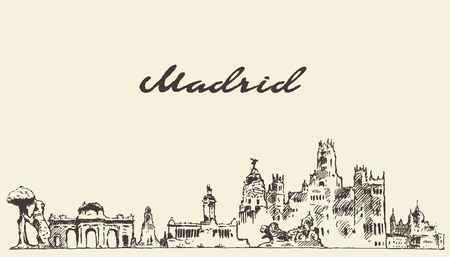 Illustration pour Madrid skyline vector engraved illustration hand drawn sketch - image libre de droit