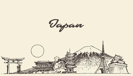 Ilustración de Japan skyline vector engraved illustration hand drawn sketch - Imagen libre de derechos