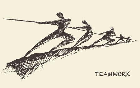 Ilustración de Hand drawn vector illustration of a team, pulling line, sketch. Teamwork, partnership concept. Vector illustration, sketch - Imagen libre de derechos