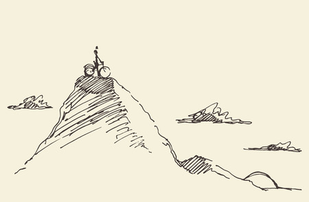 Illustrazione per Sketch of a rider with a bicycle, standing on top of a hill. Vector illustration - Immagini Royalty Free