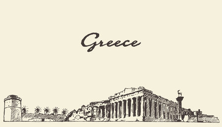 Illustration pour Greece skyline vintage engraved illustration hand drawn sketch - image libre de droit