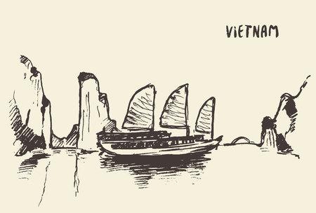 Illustration pour Sketch of the Halong Bay, Vietnam. Vector illustration - image libre de droit