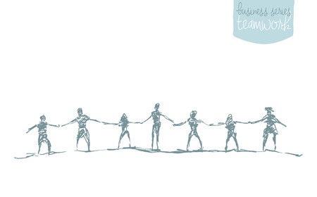 Illustration pour People hold hands in a spirit of togetherness, vector illustration, hand drawn, sketch - image libre de droit
