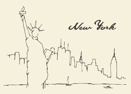 Illustration pour New York city architecture with Statue of Liberty on front, vector illustration, hand drawn, sketch - image libre de droit