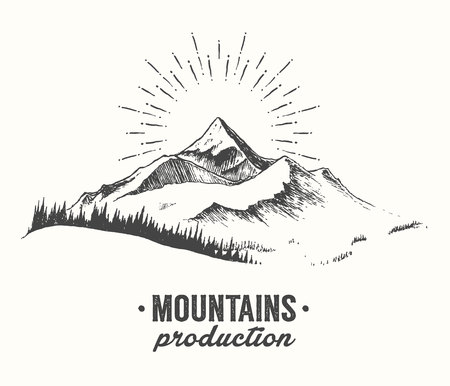 Illustration pour Sketch of a mountains with fir forest, sunrise sunset in the mountains, engraving style, hand drawn vector illustration - image libre de droit
