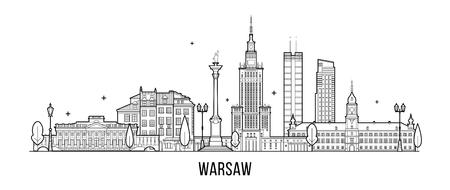 Illustration pour Warsaw skyline Poland city buildings vector - image libre de droit